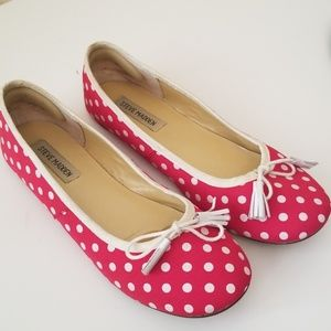 Steve Madden Red and White Polk A Dot Flats
